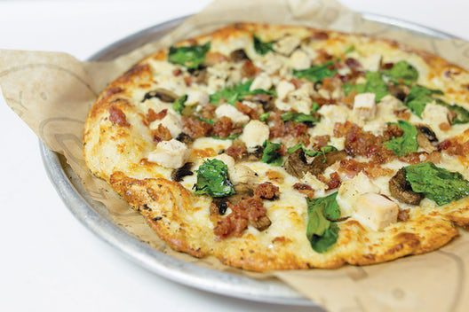 Pieology Alfredo Bacon and Cheese Pizza